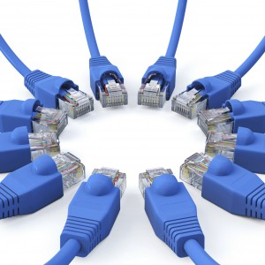 Blue network cables - meeting